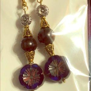 WildHoney 1 of a kind..Art  Czech/ Garnet earrings